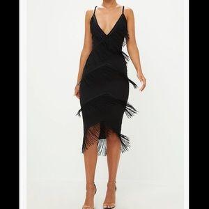 Black tassel midi dress